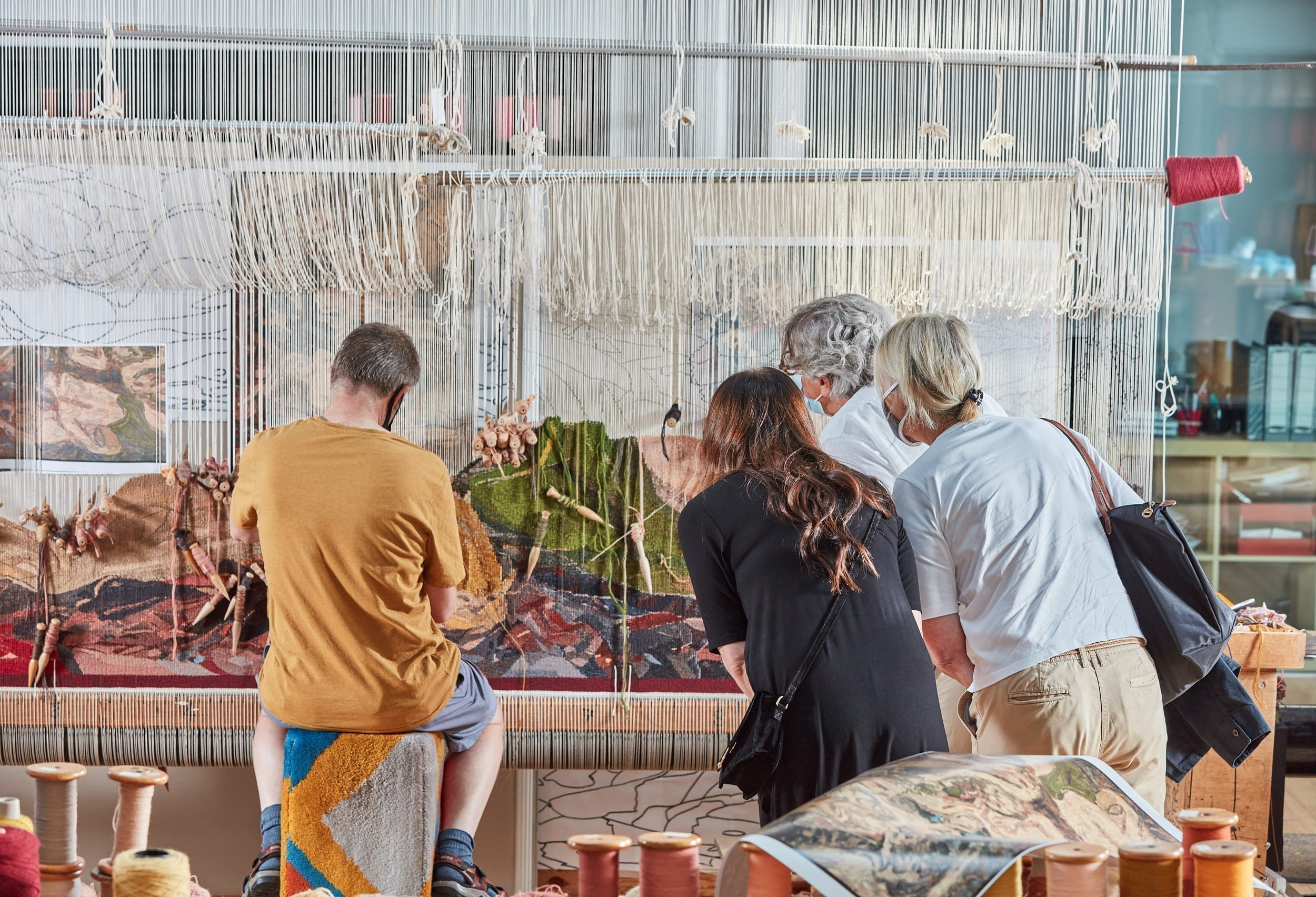 Leon Kossoff and Dovecot Studios, tapestry in progress 5, courtesy of Andy J Mather Photography