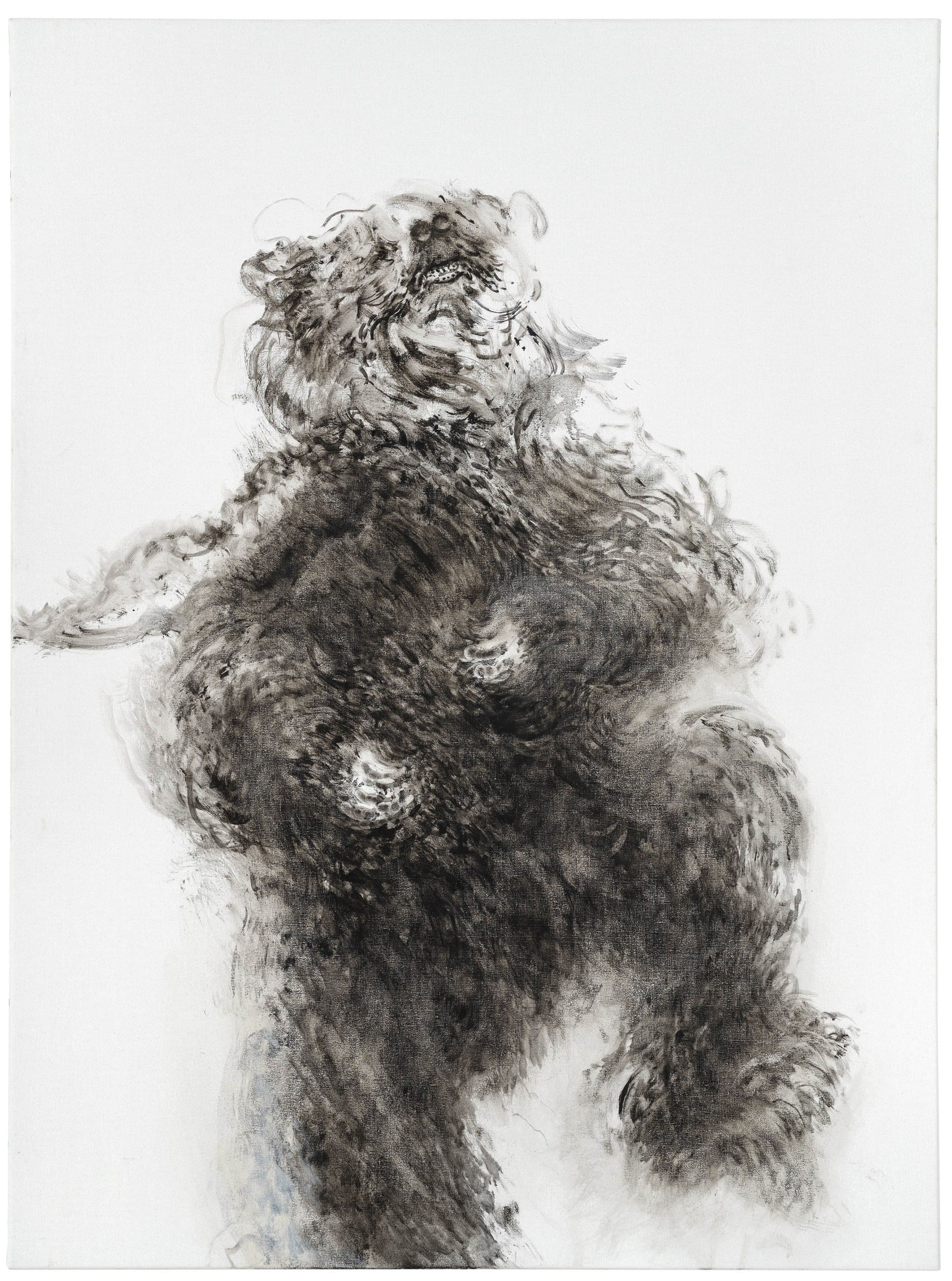 Maggi Hambling, Young dancing bear, oil on canvas, 2019, 48 x 36 inches, courtesy Marlborough, London